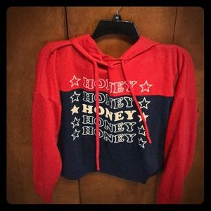 Honey Red White Blue Hoodie Crop Medium